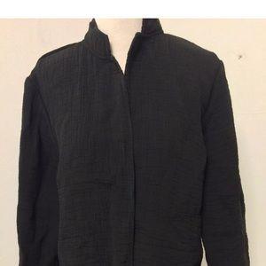 Eileen Fisher Embossed Mandarin Jacket Black Small